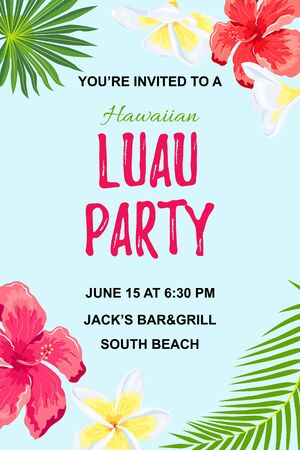 Jungle exotic flowers and palm leaves. Hawaiian Luau party invitation vector illustration. Place for text. Seasonal template for vacation, poster, banner, flyer. Иллюстрация