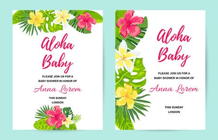 Invitations with tropical flowers, jungle leaves. Vector illustration summer templates. Place for text. Great for wedding, SPA flyer, beauty offer, poster, baby shower, bridal shower, tropical party. Иллюстрация