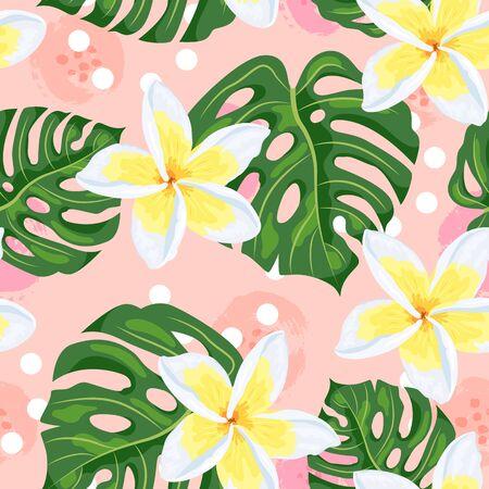 Tropical exotic leaf monstera, plumeria flower on pink backgroud. Seamless pattern. Vector illustration.