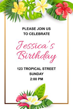 Summer background with jungle leaves and flowers. Tropical party invitation. Place for text. Great for flyer, baby shower invitation, wedding, poster, birthday. Иллюстрация
