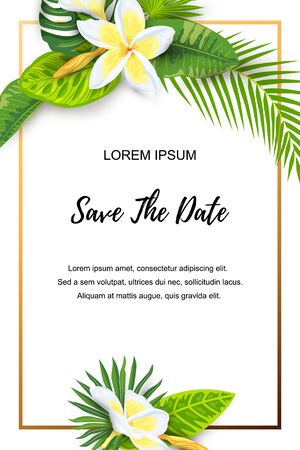 Invitation with jungle leaves, tropical flower plumeria. Vector illustration summer template. Place for text. Great for SPA flyer, beauty offer, wedding, poster, baby shower, bridal shower, vacation. Иллюстрация