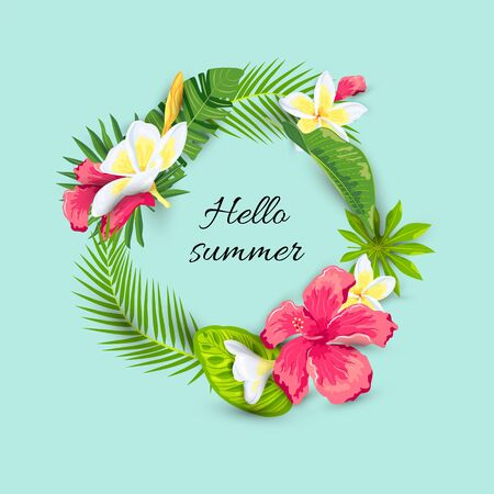 Tropical leaves, Hibiscus and Frangipani flowers. Hello summer vector illustration. Place for text. Great for summer sale, vacation, poster, banner, flyer, invitation, baby shower wedding Иллюстрация