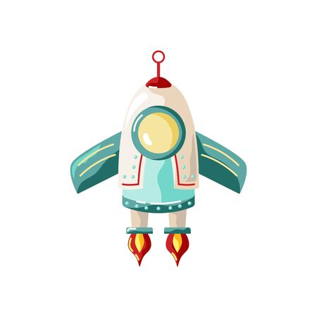 Rocket space ship vector illustration isolated on white background. Great for start up concept, baby birthday party. Flat style design.