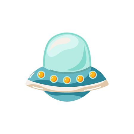 Alien space ship. Unknown flying object. Vector illustration isolated on white background. Flat style design.  イラスト・ベクター素材