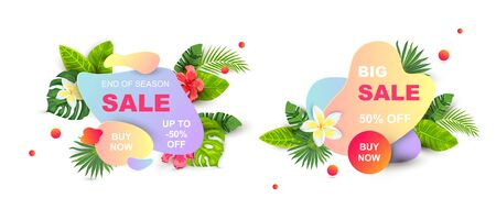 Summer sale banners with tropical leaves and flowers, liquid geometric shape. Place for text. Template for poster, web, invitation, flyer. Vector illustration. Иллюстрация