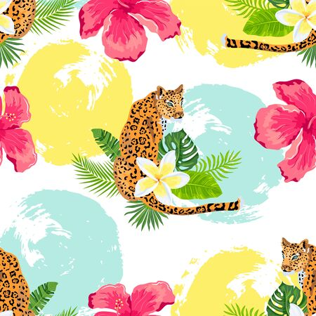 Seamless pattern with leopards, tropical leaves and flowers, hand drawn style rounds. Vector illustration.