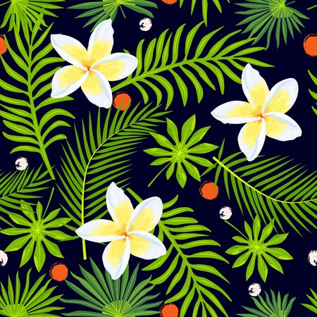 Jungle, tropical leaves and plumeria flower seamless pattern. Vector illustration.