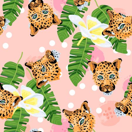 Seamless pattern with leopards, tropical leaves and plumeria flower. Vector illustration.