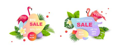 Summer sale banners with tropical leaves, flower plumeria, flamingos, liquid geometric shape. Place for text. Template for poster, web, invitation, flyer. Vector illustration set.