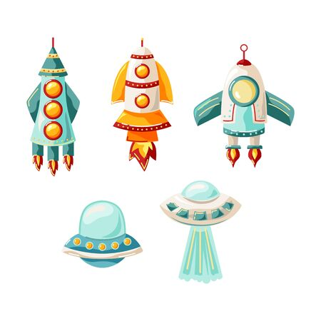 Rockets and alien space ships set. Vector illustration isolated on white background. Flat style design.