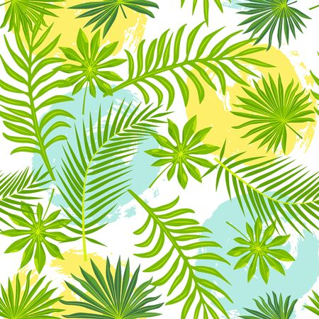 Tropical exotic leaves with hand drawn style blots. Seamless pattern. Vector illustration.