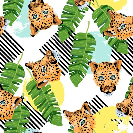 Seamless pattern with leopards, tropical leaves and hand drawn style rounds and stripes. Vector illustration.