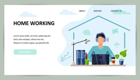 Person is working on laptop at home. Freelance, home office concept. Place for text. Flat cartoon style design. Vector illustration. Vettoriali