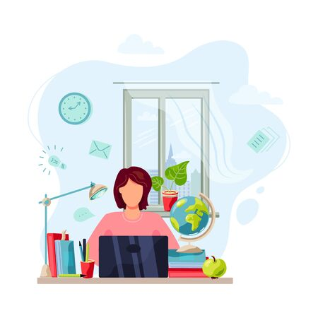 Online education, home learning, home activity concept. Student is doing homework on laptop. Vector illustration isolated on white background. Flat cartoon style design. Vettoriali