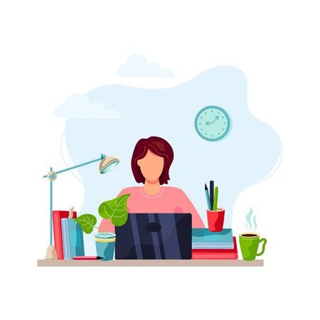 Online education, home learning, home activity concept. Student is doing homework on laptop. Vector illustration isolated on white background. Flat cartoon style design.
