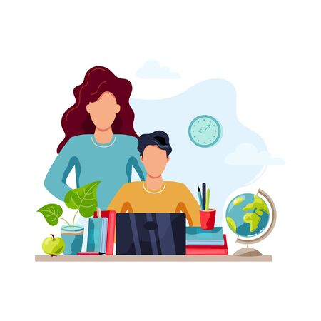 Home learning concept. Mother is helping student to do homework. Flat cartoon style design. Vector illustration