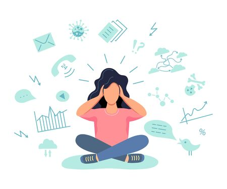 Female gets too much information. Information and data overload concept. Digital information overload. Flat cartoon design styles vector illustration. Vector Illustration