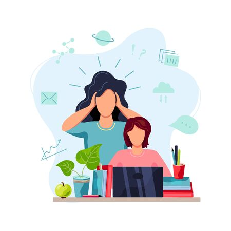 Home learning, home schooling concept. Mother is tired to help student doing homework. Vector illustration isolated on white background. Flat cartoon style design. Vecteurs