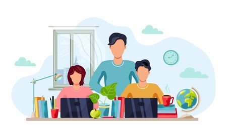 Home learning, home activity concept. Father is helping students to do homework. Vector illustration isolated on white background. Flat cartoon style design.