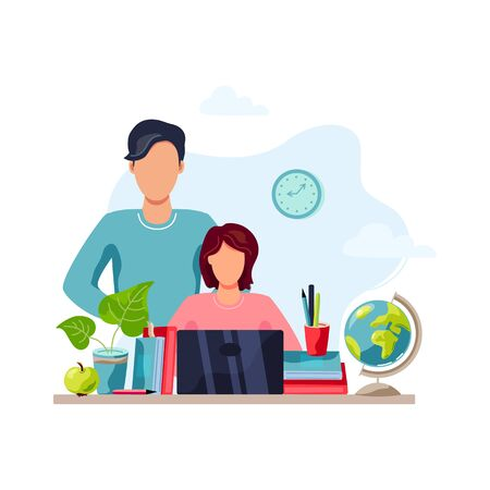 Home learning, home activity concept. Father is helping student to do homework. Vector illustration isolated on white background. Flat cartoon style design. Ilustración de vector