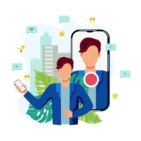 Person is recording video on smartphone in a city. Vlog, blogging concept. Online channel. Live broadcast. Travel blogger. Flat cartoon style vector illustration.