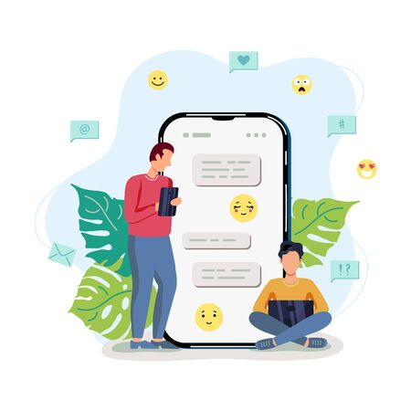 Two male persons are chatting. Online dating concept. Flat cartoon design vector illustration.