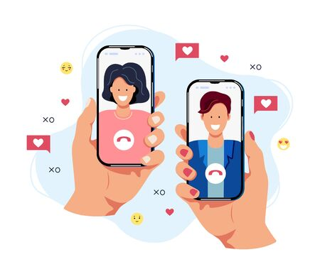 Female and male persons are chatting on smartphones. Online dating concept. Flat cartoon design vector illustration.