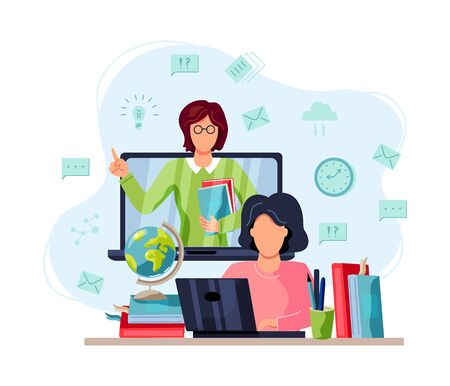 Online education, home schooling concept. Student is doing homework on computer. Female teacher on laptop screen. Vector illustration on white background. Flat cartoon style design.