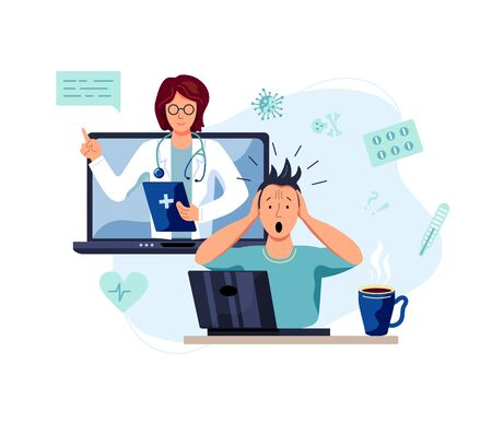 Tele medicine, online doctor and medical consultation concept. Female doctor helps a patient on a laptop. Flat cartoon style vector illustration.