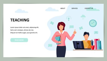 Female teacher and student is studing on computer. Place for text. Flat cartoon style design vector illustration.