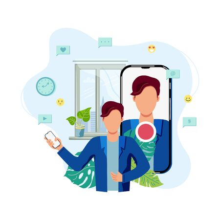Person is recording video on smartphone at home. Vlog, blogging concept. Online channel. Live broadcast. Flat cartoon style vector illustration.