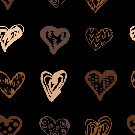 Hand drawn style hearts on black background. Seamless pattern. Equality concept. Vector illustration.