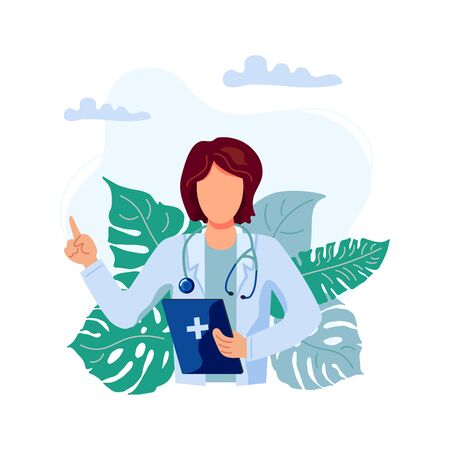 Female doctor vector illustration. Family doctor. Flat cartoon style design.