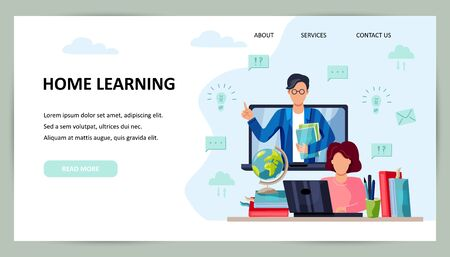 Online education, home schooling concept. Student is doing homework on computer. Teacher on laptop screen. Place for text. Website design.Vector illustration. Flat cartoon style design