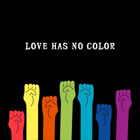 Love Has No Color text with rainbow colors human fists. Gay Pride. LGBTQ concept. Equality concept. Vector illustration. Ilustrace