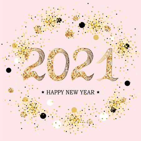 2021 Happy New Year. 2021 celebration text on pink background with golden confetti. Vector illustration isolated on background. Postcard motive.