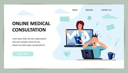Tele medicine, online doctor and medical consultation concept. Doctor helps a patient on a laptop. Place for text. Flat cartoon style vector illustration. Ilustrace