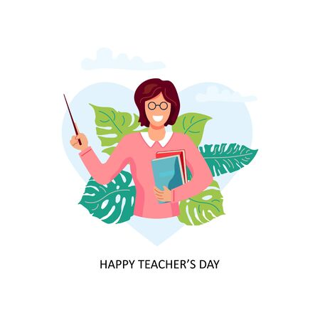 Happy Teacher's day. Smiling female teacher with pointer and books. Vector illustration isolated on white background. Flat cartoon style design. Ilustrace