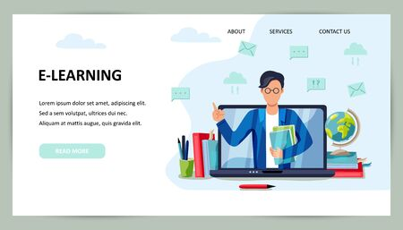 Online education, home schooling concept. Male teacher on laptop screen. Place for text. Website design. Flat cartoon style design vector illustration.