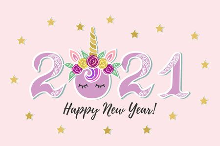 2021 with Unicorn Tiara and eyes for Happy New Year postcard, party invitation, postcard motive, Merry Christmas card. Vector illustration.