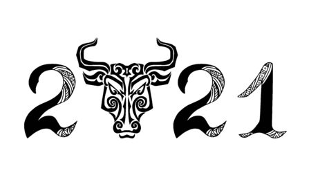 2021 New Year with Bull head. Vector illustration isolated on white background.