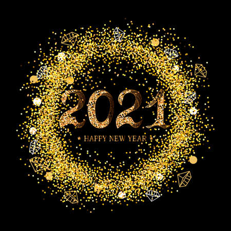 2021 Happy New Year. 2021 celebration text on black background with golden confetti. Vector illustration isolated on background. Postcard motive.