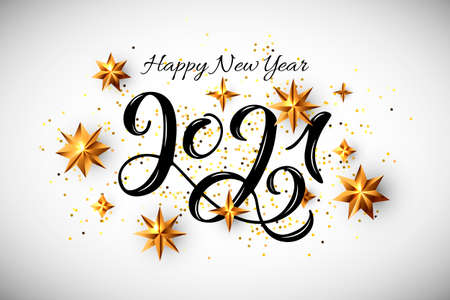 Happy New Year 2021 with handwritten numbers and golden stars. Vector illustration. Postcard motive. Ilustrace