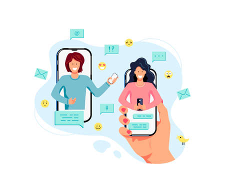 Two female persons are chatting on mobile phones. Flat cartoon design vector illustration. Ilustrace
