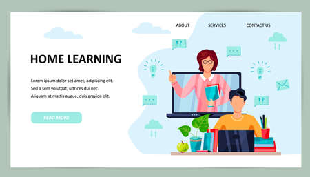 Online education, home schooling concept. Student is doing homework on computer. Female teacher on laptop screen. Place for text. Website design.Vector illustration. Flat cartoon style design