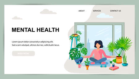 A woman is sitting in a meditative pose at green home near the window. Home gardening, urban jungle, house plant concept. Balanced and healthy lifestyle. Flat cartoon style design vector illustration.