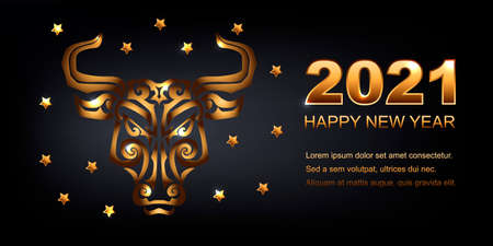 Happy New Year 2021 with golden bull face on black background. Place for text. Vector illustration EPS 10 file.