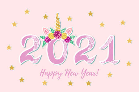 2021 with Unicorn Tiara for Happy New Year poster, party invitation, postcard motive, Merry Christmas card. Vector illustration.