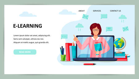 Online education, home schooling concept. Female teacher on laptop screen. Place for text. Website design. Flat cartoon style design vector illustration.