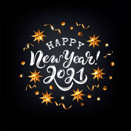 Happy New Year 2021 card. Handwritten lettering with golden confetti and stars on black background. Vector illustration. Ilustrace